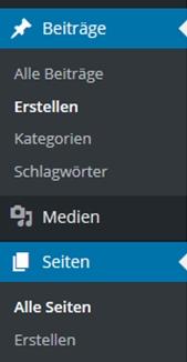 Wordpress Navigationsleiste mit Beiträge und Seiten Menüpunkt