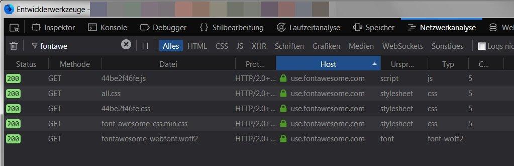 Firefox Entwicklerwerkzeug nach fontawesome Host suchen