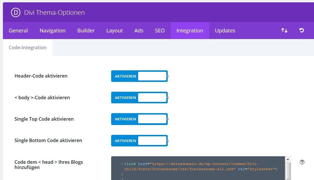 FontAwesome lokal über Divi -> Integration im Headerbereich einbinden